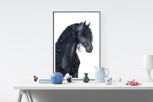 Mockup of hanging print of original pencil drawing of black friesian horse with long, curly mane.