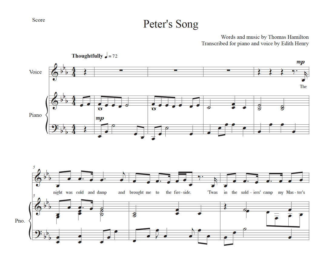 Peter's Song - Solo Voice with Piano