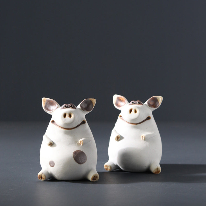 Orginal handmade piggy ceramic decor