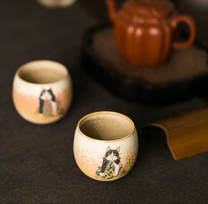 猫 - naive cat hand- painted handmade ceramic tea cup