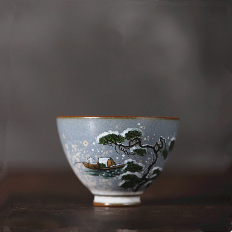 雪 - Xue chinese traditional Hand-Painted porcelain tea cup