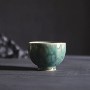 甘 - aquamarine blue handmade ceramic tea cup