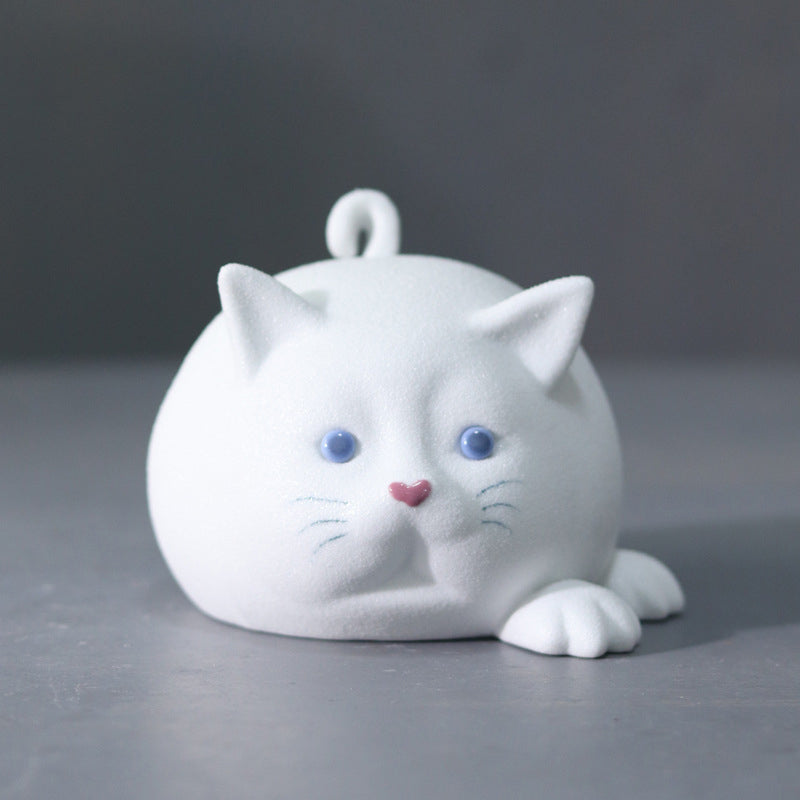 Jingdezhen handmade ceramic black white cat