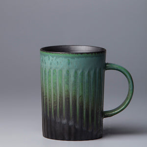 森 - Retro gradient forest green handmade cup with plate