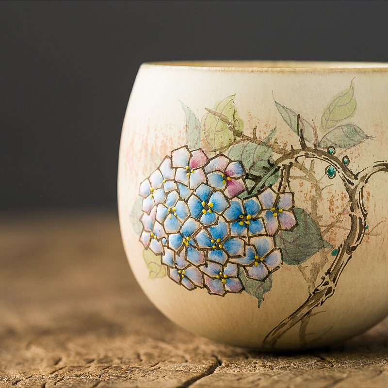 hand-painted hydrangea flower ceramic tea cup