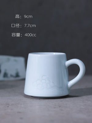 梅 - plum carved handmade ceramic mug
