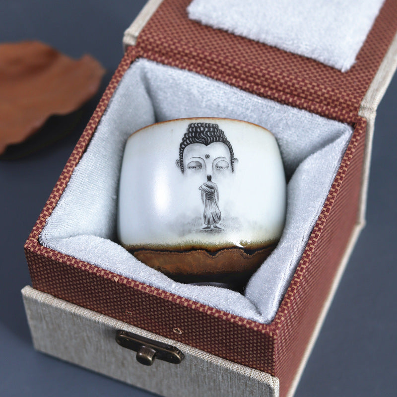 汝 - kiln hand-painted Buddha  Zen ceramics tea cup