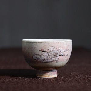 鹤He - Hand-painted cranes ceramic tea cup wine cup