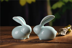 玉兔 - Green glaze porcelain rabbit decor