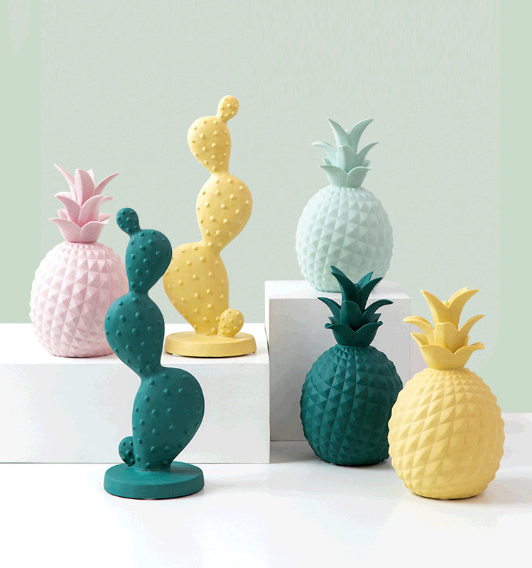 Modern pineapple cactus ceramic decor - tacithome