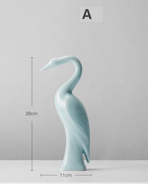 鹤He - Chinese crane handmade porcelain ornaments decor