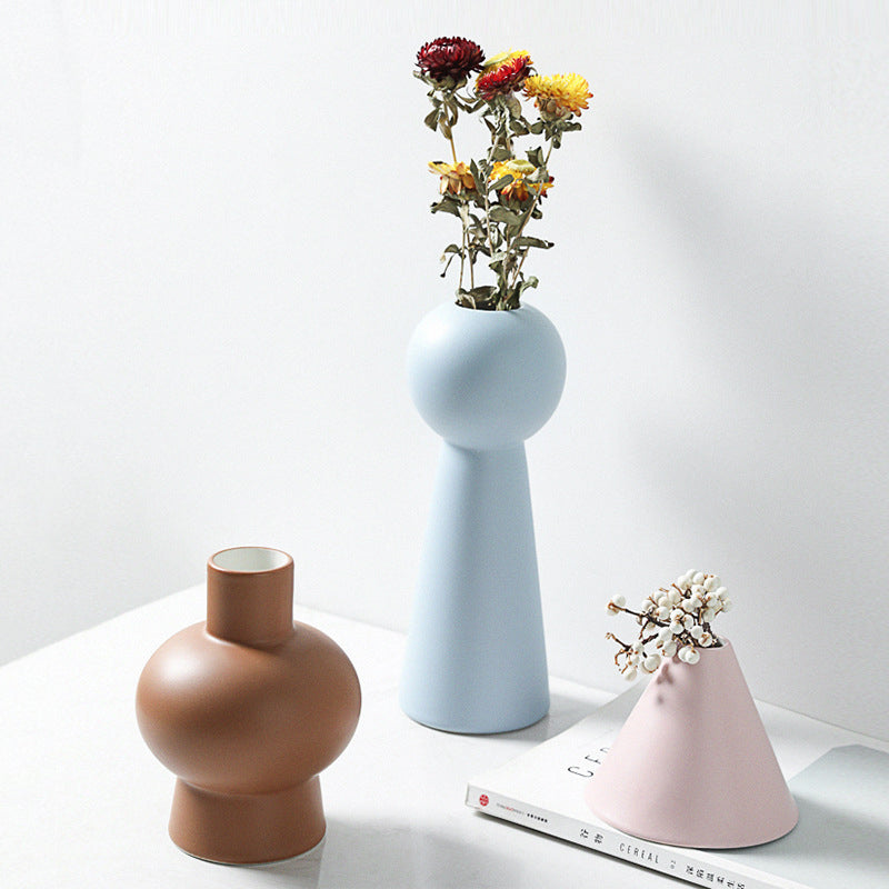 Exquisite Colorful Minimalist Handmade Ceramic Vase, Nordic Modern Home Decor