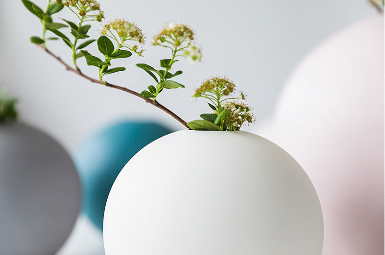 Spherical Minimalist Handmade Nordic Vase, Modern Home Accessories