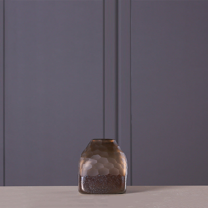 Amber Classic Glass Vase, Decorative Hand-Blown Glass Vase