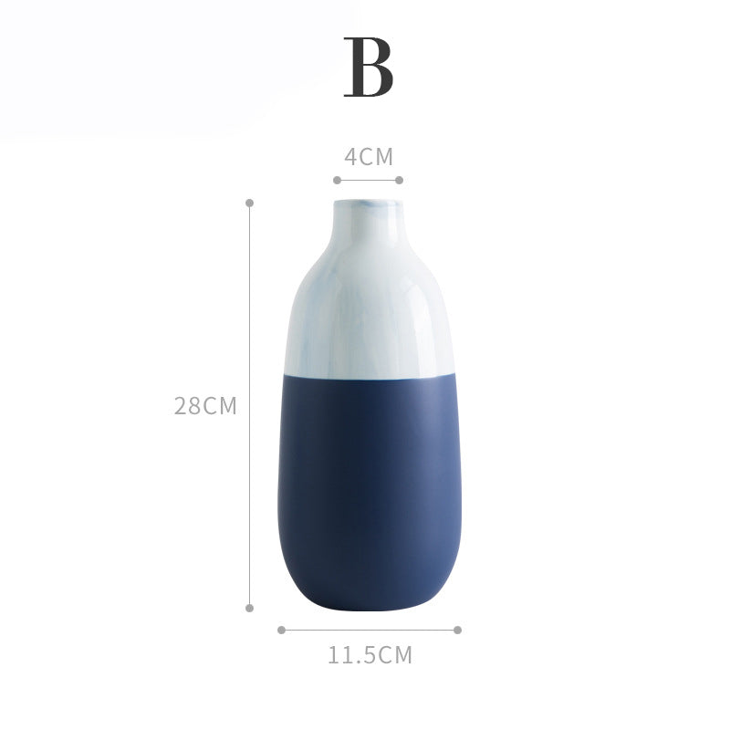 two-tone minimalist ceramic vase