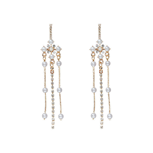 Baroque Exaggerated Fringe Pearl Rhinestone Earrings