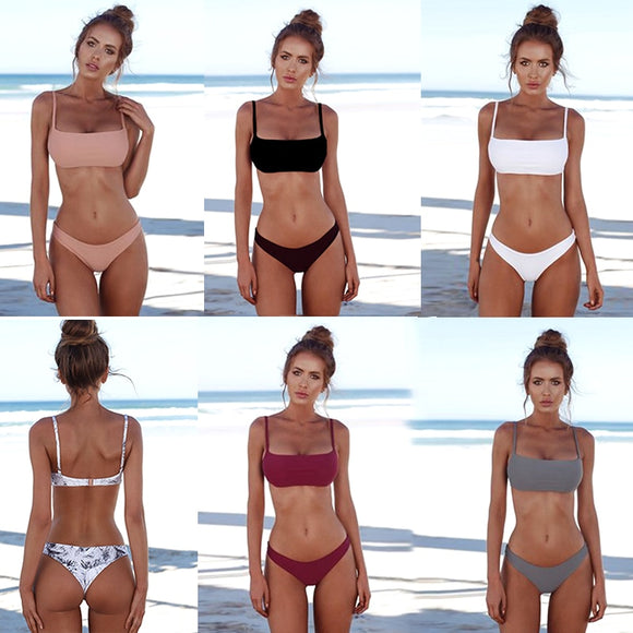 【HOT】2019 New Summer Women Solid Bikini Set Push-up UnPadded Bra Swimsuit