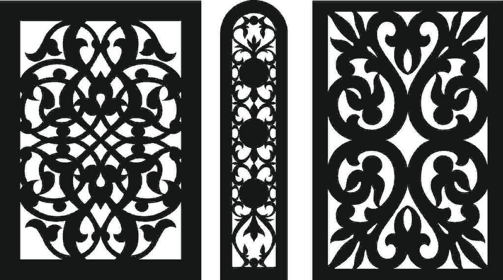 SCROLL DXF PANEL design  plasma Laser router Cut -CNC Vector DXF-CDR AI JPEG  PANEL C16
