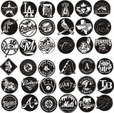 PACK LOGO of 36 baseball team logo DXF of PLASMA ROUTER LASER  Cut -CNC Vector svg-DXF-CDR-AI-JPEG
