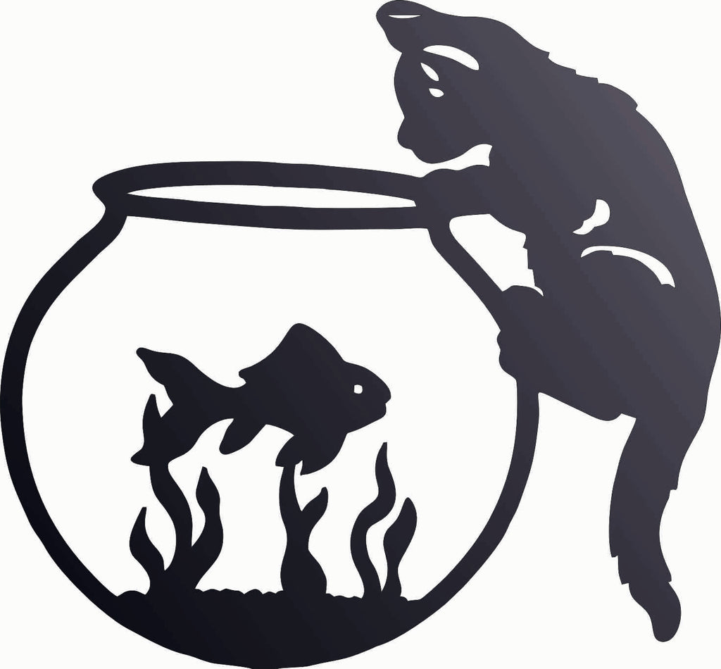 CAT AND FISH DXF of PLASMA ROUTER LASER  Cut -CNC Vector DXF-CDR-AI-JPEG