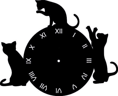 CLOCK CAT SVG-DXF-CDR-AI-JPEG of PLASMA ROUTER LASER  Cut -CNC Vector