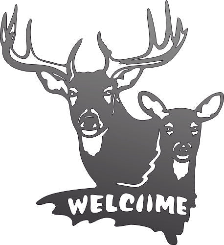 DEER WELCOME DXF of PLASMA ROUTER LASER  Cut -CNC Vector DXF-CDR-AI-JPEG