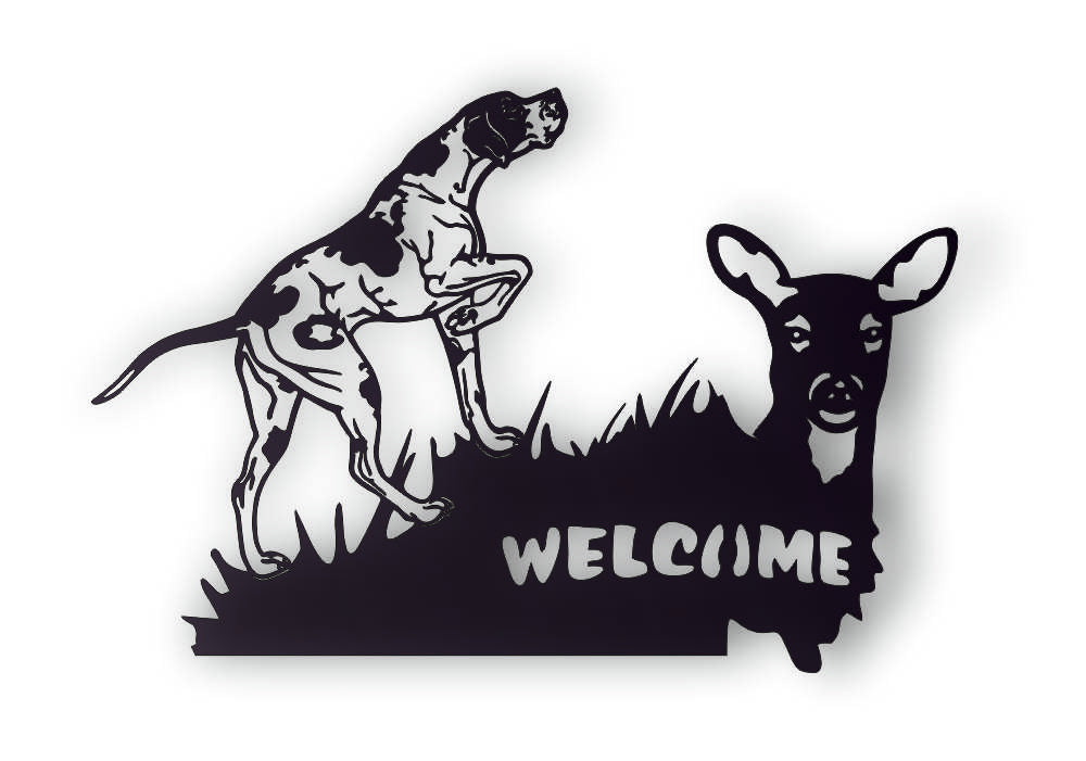 DOG DEER WELCOME DXF of PLASMA ROUTER LASER  Cut -CNC Vector DXF-CDR-AI-JPEG