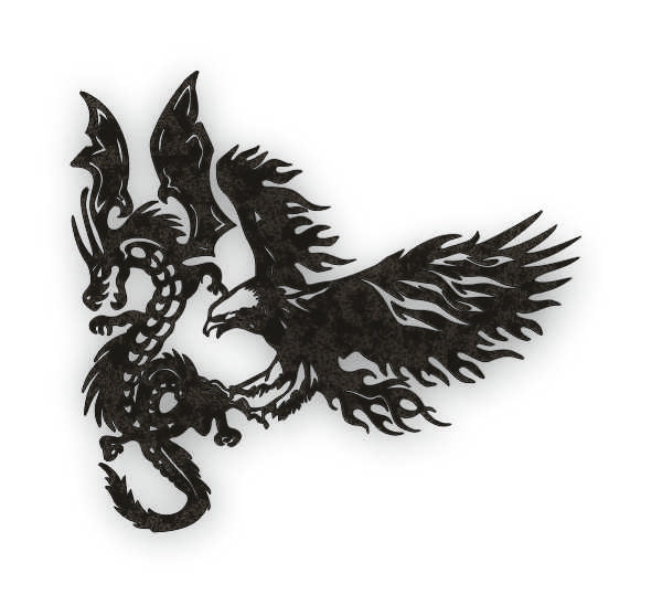 EAGLE VS DRAGON  DXF of PLASMA ROUTER LASER  Cut -CNC Vector DXF-CDR-AI-JPEG