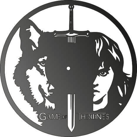 GAME OF TRONE CLOCK CNC ART AI CDR PLASMA ROUTER LASER CUTTING