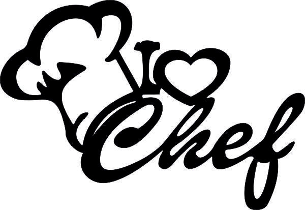 I LOVE CHEF SIGN KICHEN DXF of PLASMA ROUTER LASER  Cut -CNC Vector SVG-DXF-CDR-AI-JPEG