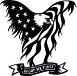 IN GOD WE TRUST DXF of PLASMA ROUTER LASER  Cut -CNC Vector DXF-CDR-AI-JPEG
