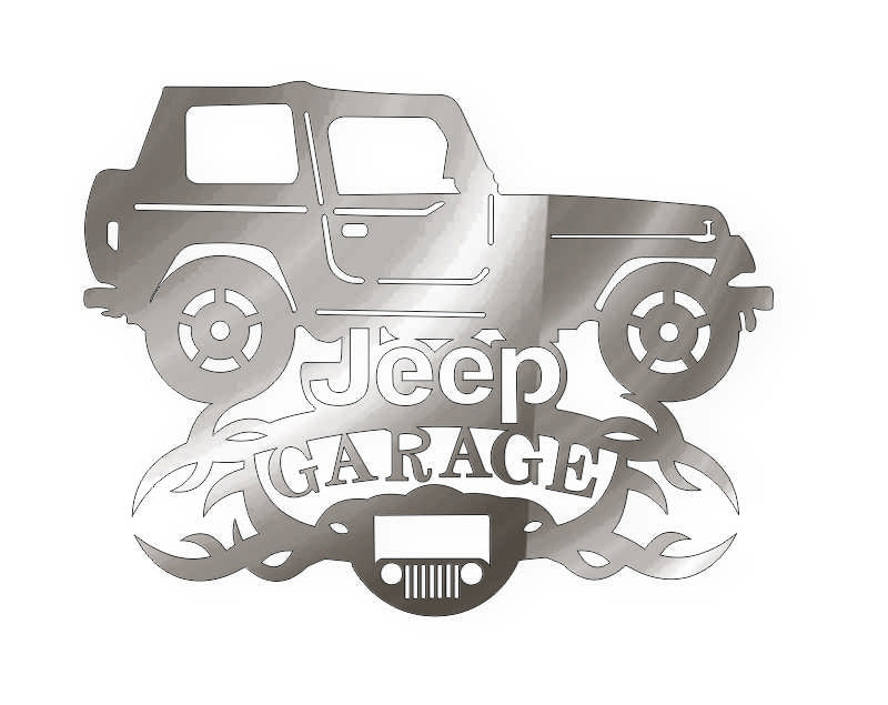 jeep garage car  DXF of PLASMA ROUTER LASER  Cut -CNC Vector DXF-CDR-AI-JPEG