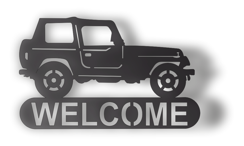 JEEP WELCOME DXF of PLASMA ROUTER LASER  Cut -CNC Vector DXF-CDR-AI-JPEG