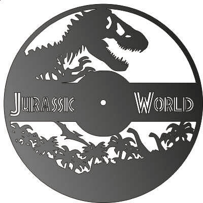 JURASSIC WORLD CLOCK CNC ART AI CDR PLASMA ROUTER LASER CUTTING