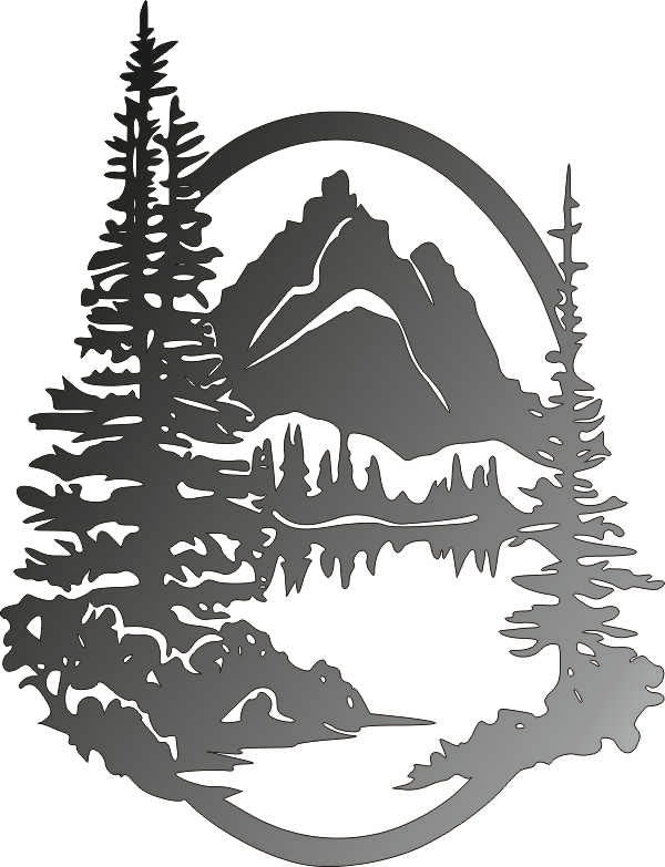 MOUNTAIN  DXF of PLASMA ROUTER LASER  Cut -CNC Vector DXF-CDR-AI-JPEG