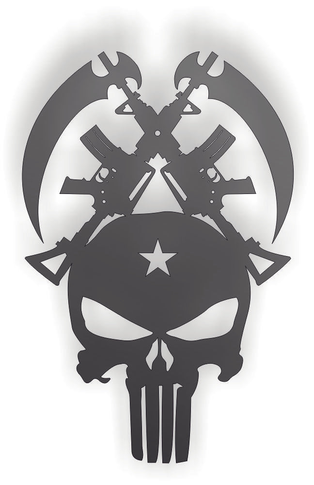 PUNISHER SKULL DXF of PLASMA ROUTER LASER  Cut -CNC Vector DXF-CDR-AI-JPEG