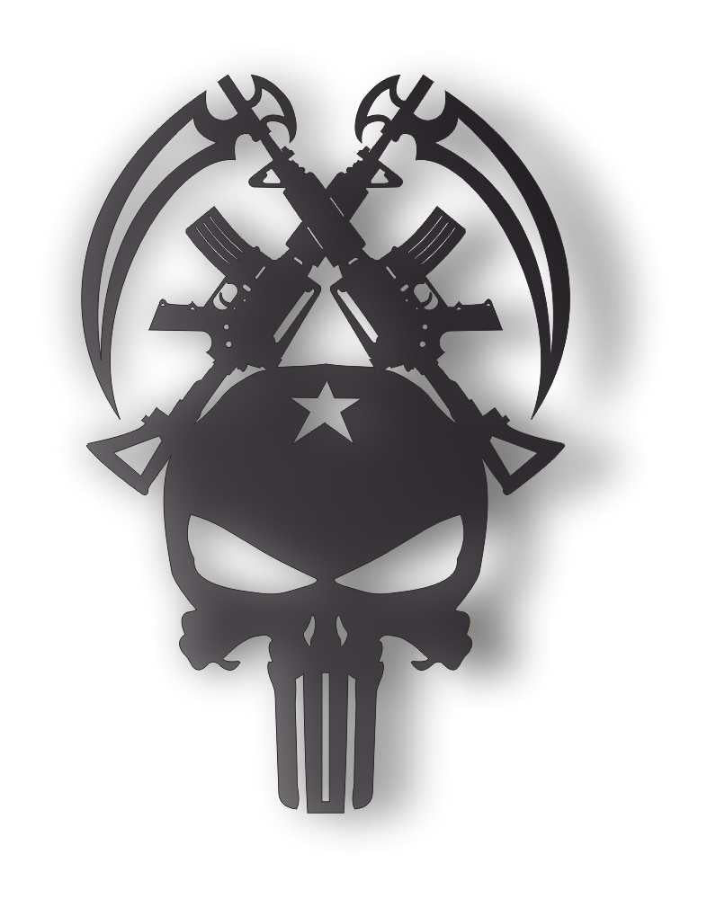 PUNISHER ARMY DXF of PLASMA ROUTER LASER  Cut -CNC Vector DXF-CDR-AI-JPEG