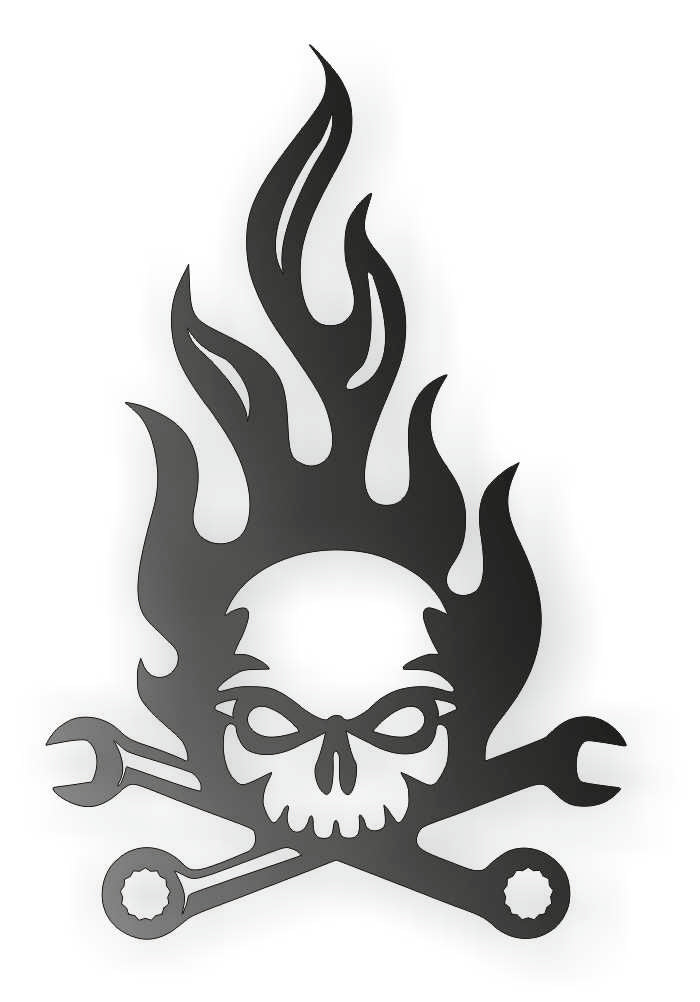 SKULL MECANIC DXF of PLASMA ROUTER LASER  Cut -CNC Vector DXF-CDR-AI-JPEG