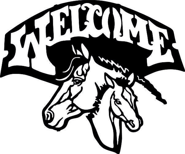 WELCOME HORSE SVG-DXF-CDR-AI-JPEG of PLASMA ROUTER LASER  Cut -CNC Vector