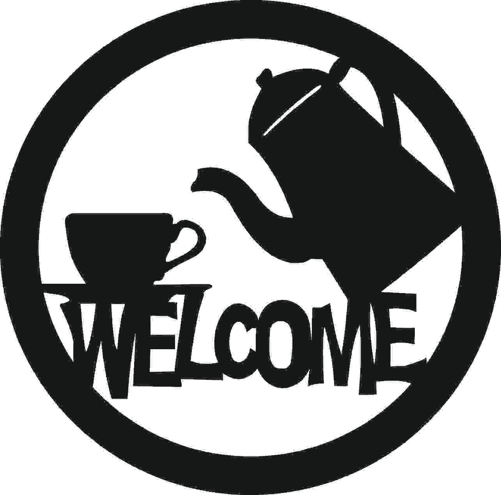 WELCOME COFFE SIGN DXF of PLASMA ROUTER LASER  Cut -CNC Vector DXF-CDR-AI-JPEG