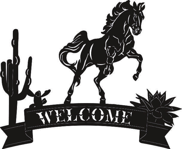 WELCOME HORSE DESIGN SVG-DXF of PLASMA ROUTER LASER  Cut -CNC Vector DXF-CDR-AI-JPEG