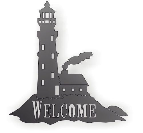 WELCOME LIGHT HOUSE MARITIME DXF of PLASMA ROUTER LASER  Cut -CNC Vector DXF-CDR-AI-JPEG