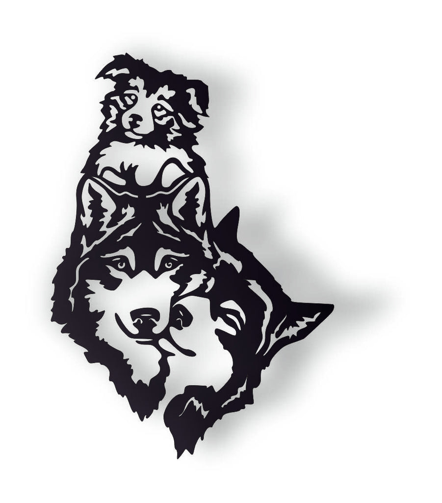 WOLVES FAMILY DXF of PLASMA ROUTER LASER  Cut -CNC Vector DXF-CDR-AI-JPEG
