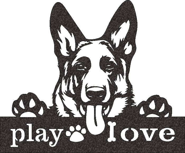 DOG PLAY LOVE SVG DXF of PLASMA ROUTER LASER  Cut -CNC Vector DXF-CDR-AI-JPEG