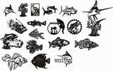 fish pack DESIGN DXF FOR PLASMA ROUTER LASER  Cut -CNC Vector DXF-CDR-AI-JPEG