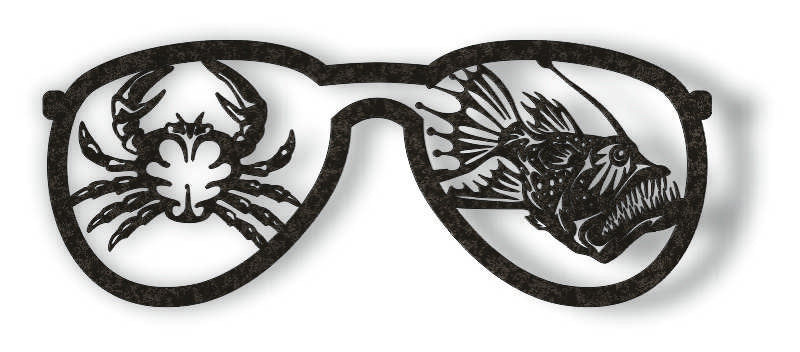 GLASSES FISH DXF of PLASMA ROUTER LASER  Cut -CNC Vector DXF-CDR-AI-JPEG