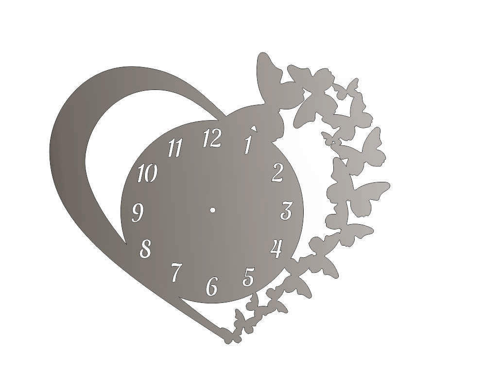LOVE DXF CLOCK  CNC ART AI CDR PLASMA ROUTER LASER CUTTING C12