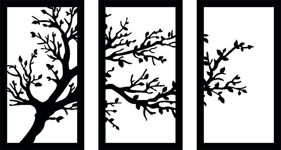 TREE WALL SVG-DXF-CDR-AI-JPEG of PLASMA ROUTER LASER  Cut -CNC Vector