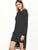 Black Hooded Slit Side High Low Sweatshirt Dress