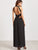 Black Backless Hollow High Slit Appliques Dress